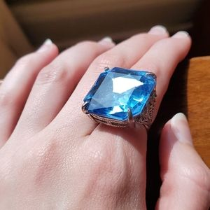 Ring Blue Statement Stone Costume Jewelry